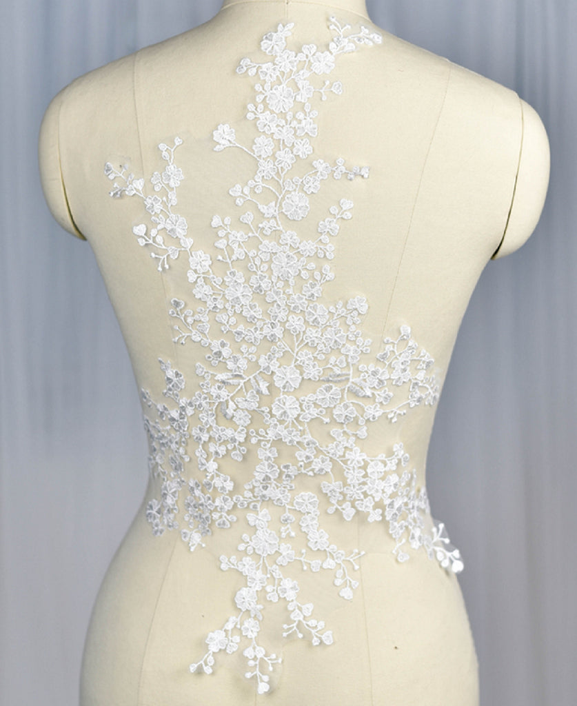 A large bridal wedding ivory bolero lace applique cotton tulle floral lace motif is for sale. Sold by per piece