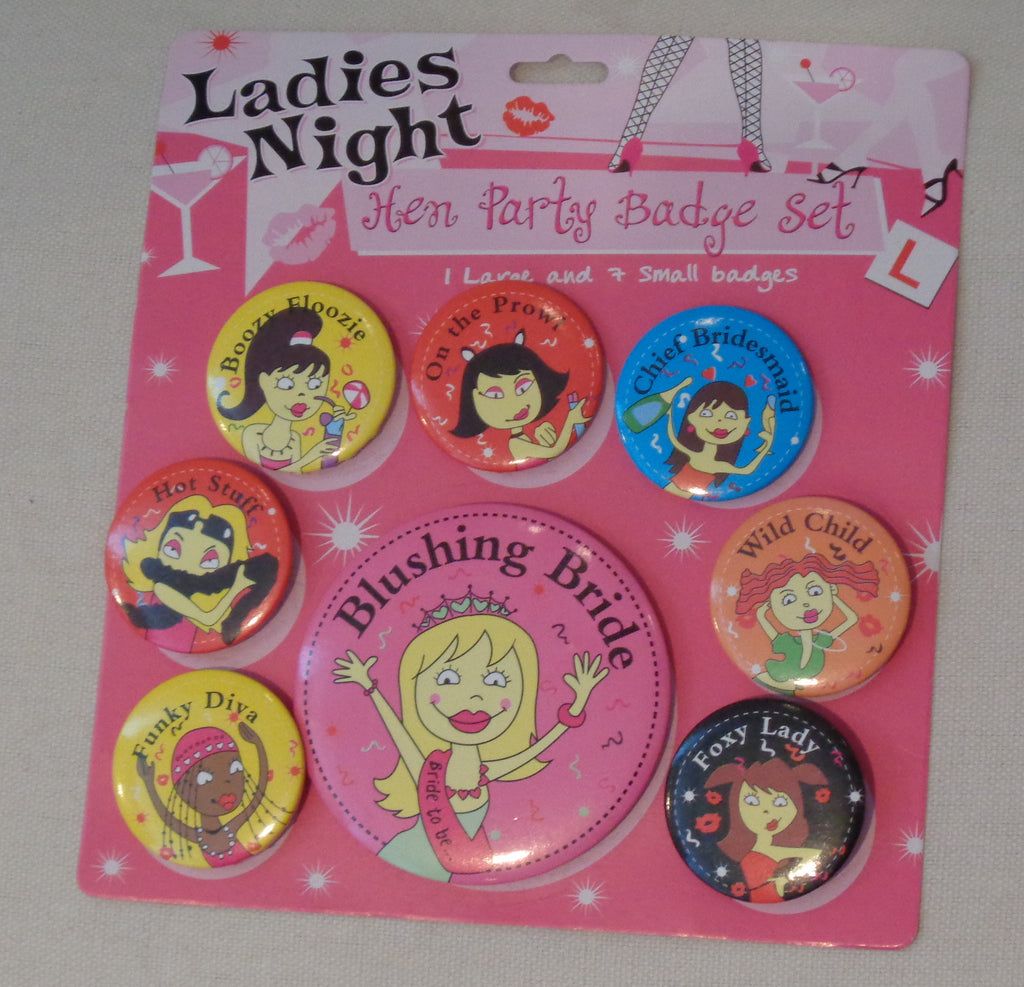 A pack of 8pieces hen party badges Ladies fancy night party bride to be brooch pins accessory for sale. sold by per 8 badges.
