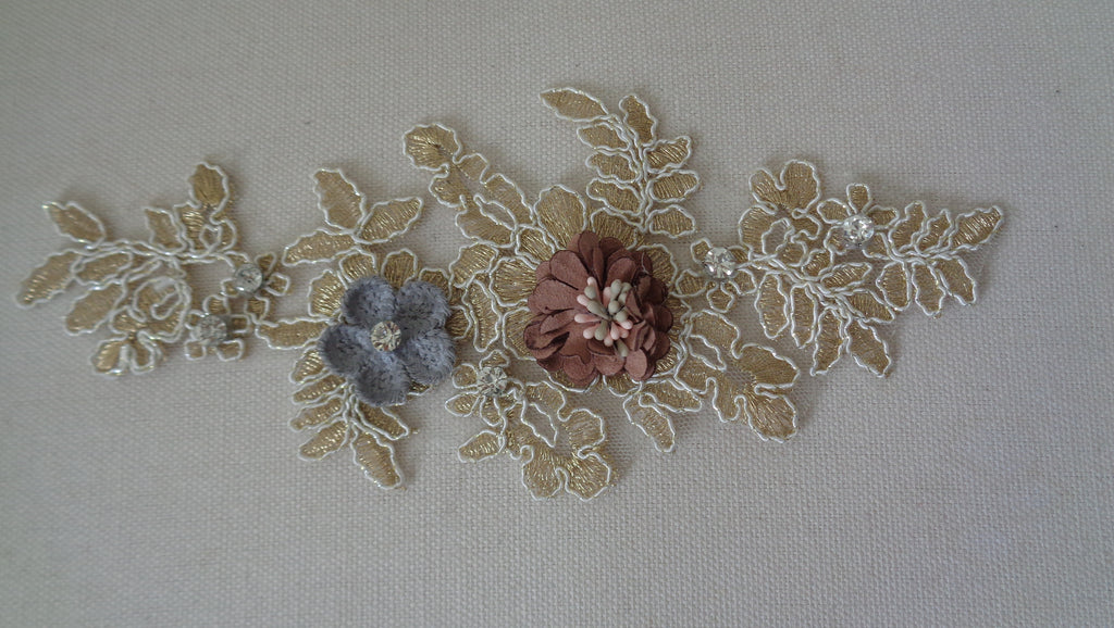 champagne floral beaded lace applique / rhinestones tulle lace motif is for sale .Sold by per piece