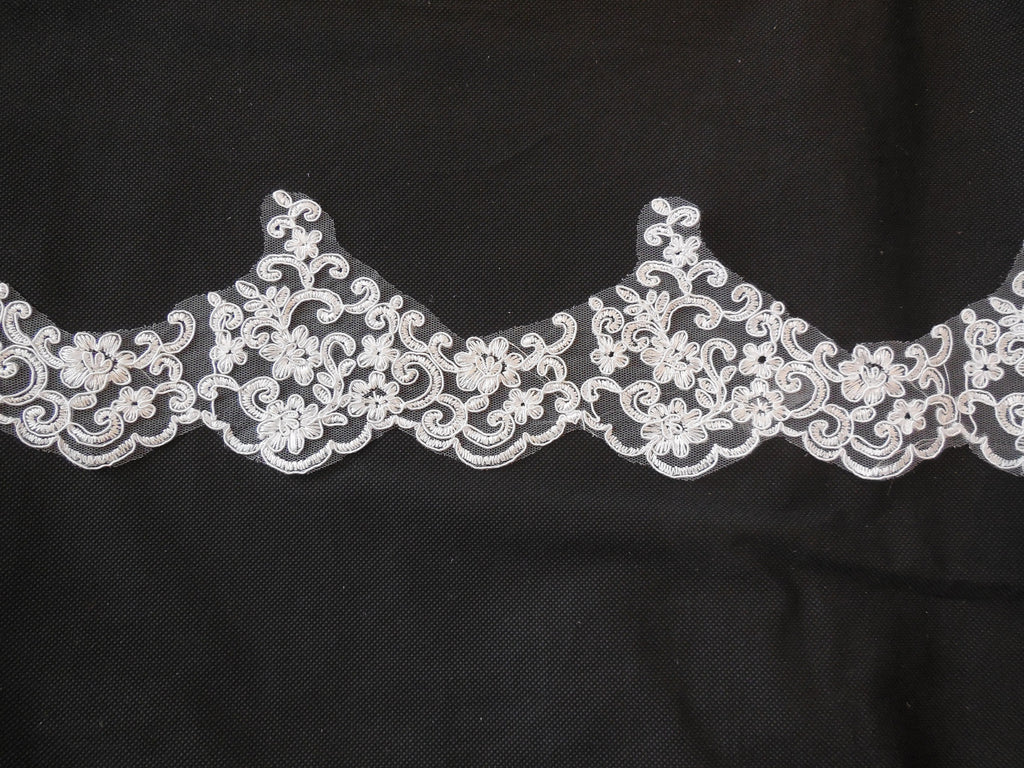 Ivory Embroidered floral lace trim Bridal Wedding gown lace trim. by Per Yard