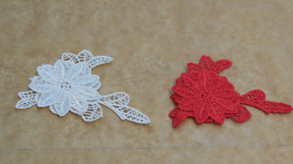 Small double layers Red floral lace Applique lace motif is for sale 9cm x 6cm