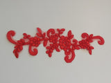 Red floral lace applique / dress lace motif is for sale. 23x7cm sold by piece