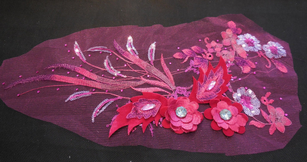 Luxury Large piece of Pink & Rose pink sequins beaded floral lace Applique / beaded lace motif is for sale.  sold by per piece