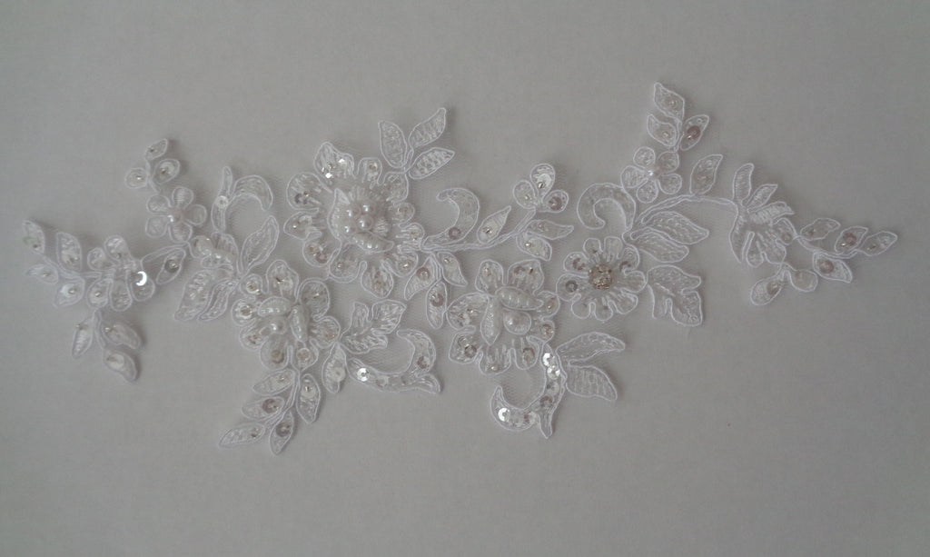 white or ivory floral beaded lace applique bridal wedding sequins lace motif for sale. sold by per piece