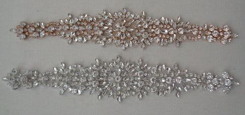 silver or gold colour bridal rhinestones applique sew on wedding rhinestones motif is for sale. sold by per piece.