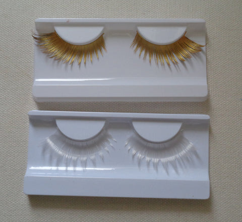 gold or white party false eyelashes Reusable fashion fancy false eyelashes extension two colours options