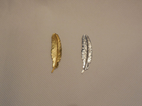 1 pcs of feather shape copper metal bead suitable for diy 5.2cm x 1.1cm