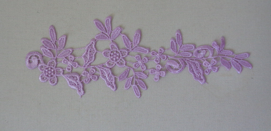 A light purple floral lace applique dress sewing cotton lace motif is for sale.  sold by per piece