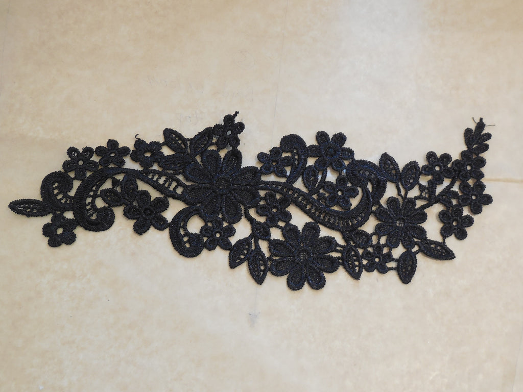 A black or off white bridal wedding cotton lace applique sewing floral lace motif is for sale . sold By piece