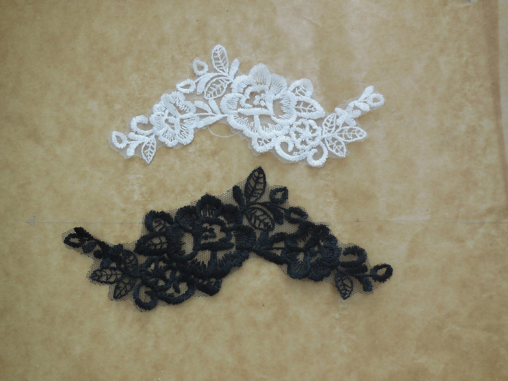 White embroidered diamond venice