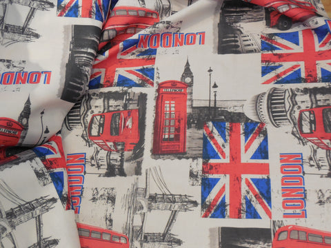 london landmarks theme linen fabric DIY thick textured linen sold By per 0.5meter