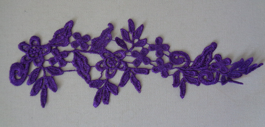 A Purple bridal floral lace Applique/ wedding lace motif for sale.Sold by piece