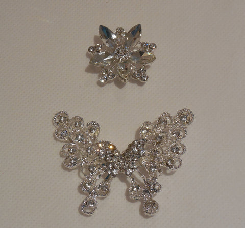 A Bridal wedding rhinestones butterfly brooch pin Or floral rhinestones motif craft is for sale. Sold by per piece