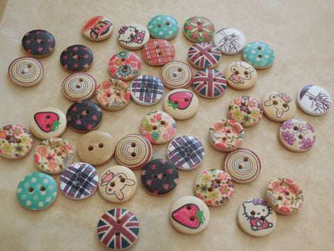 10 buttons x Children clothes 2 holes flat round buttons sew on wood buttons