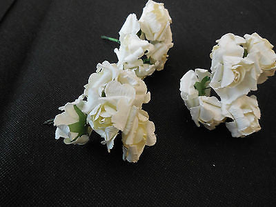 6 mini Ivory Paper Rose Flowers With Wire Stems For Card Craft Cake 3cm/flower
