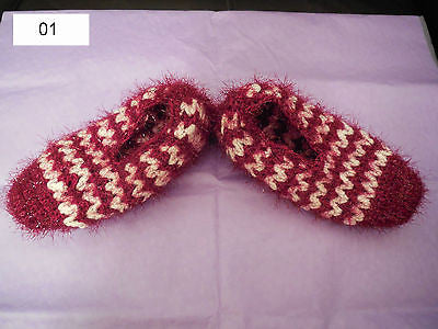 Women handmade knitted pattern socks slippers.5 colours choices.SOLD by pair(s)
