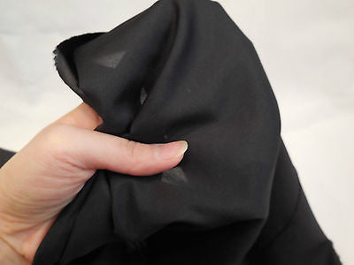 Black Soft Polyester Satin dress lining fabric 150cm wide. Per Meter