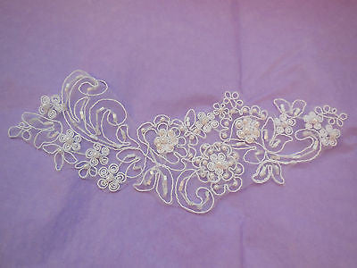 A White bridal beaded lace Applique/ wedding shoes floral lace motif.By piece