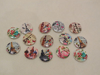 8 pieces of London & Paris Landmarks Children clothes sew on wood buttons in circle round shape 1.9cm wide
