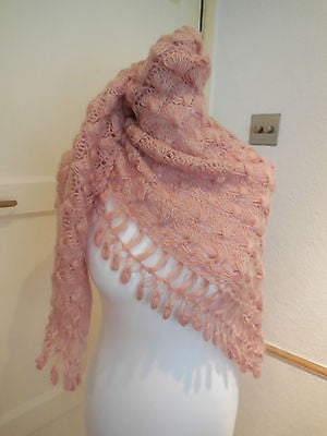 A pink tone handmade Shell stitch crochet women's scarf/shawl is for sale.