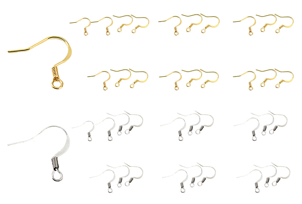 Craftuneed Job lot 40pcs stainless steel earring hooks ear wire pins silver or gold colour jewellery making findings