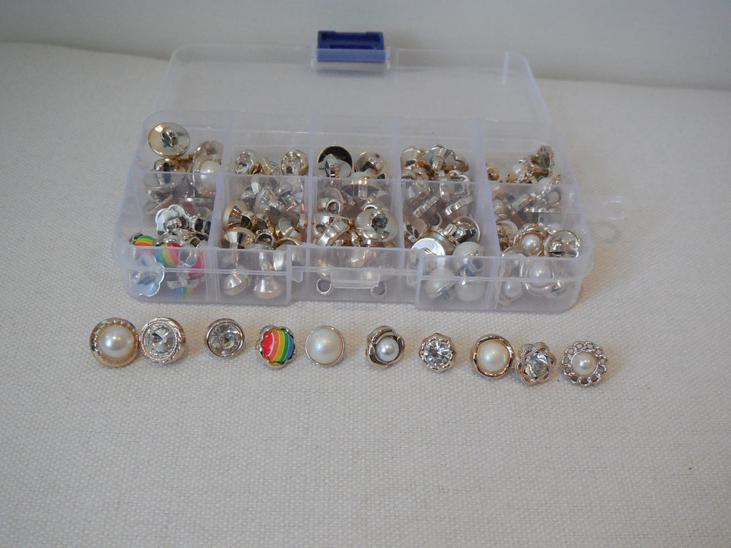 Mixed lot 100 small buttons hand sew clothes buttons various shapes & colours