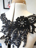 A Black or white bridal floral lace collar applique / floral neckline collar motif is for sale. Sold by per piece