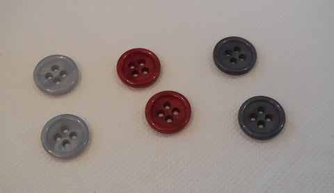 2 pcs dark red OR grey shell plastic sew on clothes jackets buttons flat base
