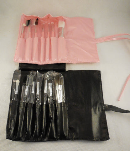 Set of 7 black or pink makeup brushes tool kit with a faux leather makeup brush organiser bag