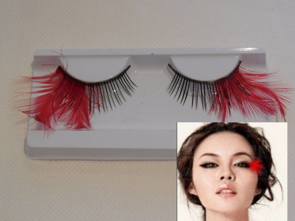 Delicate red feathers tails false eyelashes Reusable fancy makeup false eyelashes extension