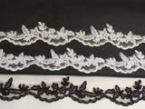 Black or ivory or white or red bridal wedding floral tulle lace trim / dress hemming lace trim is for sale. sold by Yard 90cm