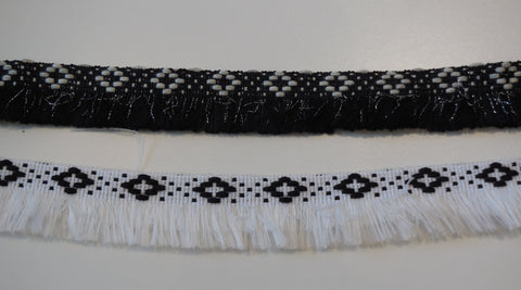 Black OR white Braid trim fringe trim edging sewing trim clothes trimming Sold by Per Yard