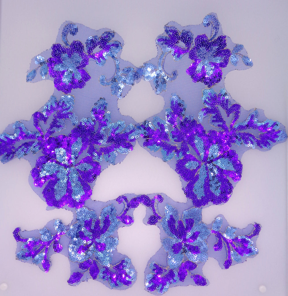 A pair purple blue sequins lace applique purple blue sequined floral tulle lace motif