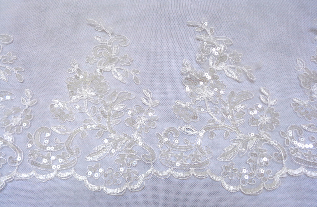 white or ivory floral sequins lace trim ivory or white bridal sequined tulle lace trimming Sold by Per Yard  90cm