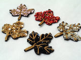 leaf embroidered beads applique motif sew on leaf sequins motif patch beaded motif per piece