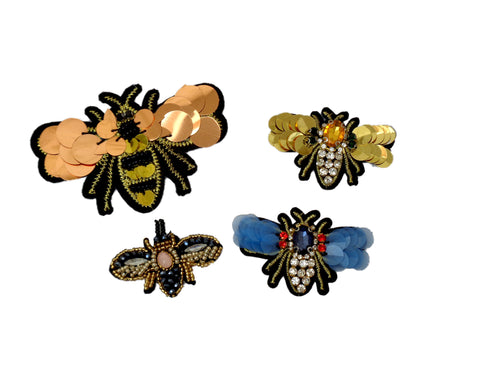 Bee beads rhinestones applique motif sew on beaded sequins motif bees jean patch motif per piece