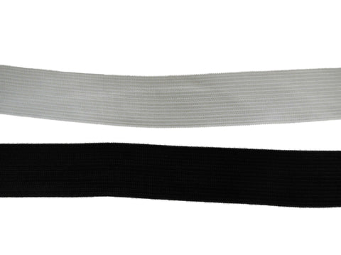 2.5cm wide Flat Elastic waistband black or white high quality. Sold by Meter(s)