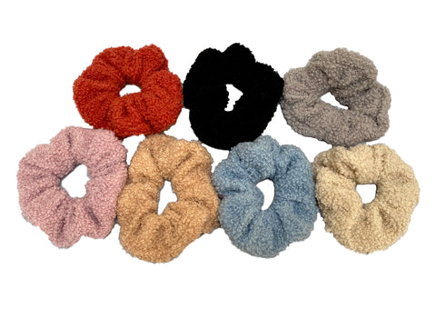 Job lot 7pcs medium teddy hair scrunchies Scrunchy Bobbles elastic hair bands UK
