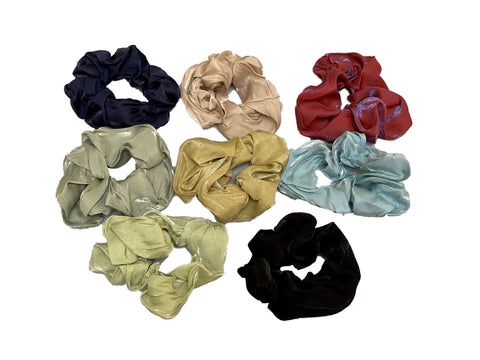 Job lot 8pcs satin fabric hair scrunchies Scrunchy Bobbles elastic hair bands UK
