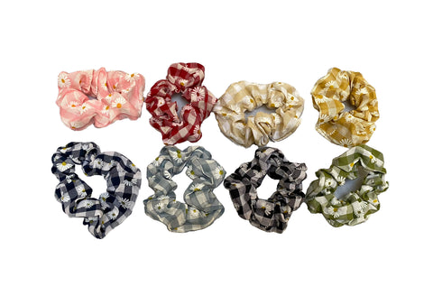Job lot 8pcs fabric floral hair scrunchies Scrunchy Bobbles elastic hair bands UK