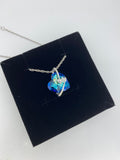 Craftuneed purple or blue ocean heart crystal pendant necklace women 925 silver necklace gift