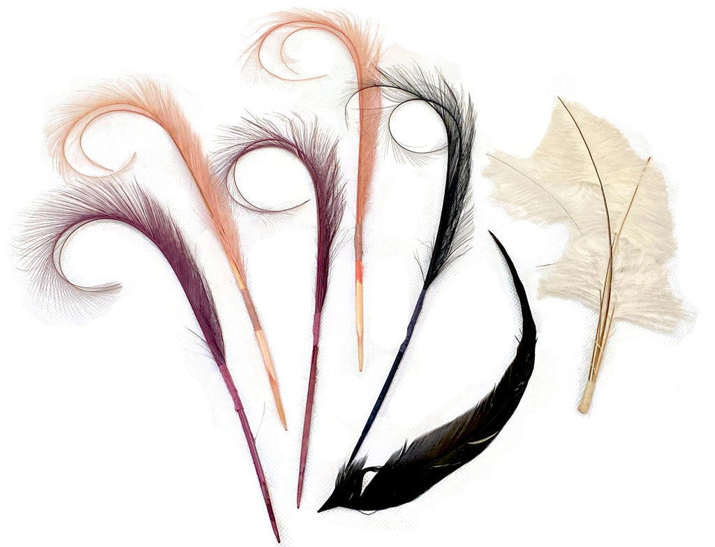 Job lot 7 pcs stripped hat mount feathers hat Millinery fascinator craft diy feathers