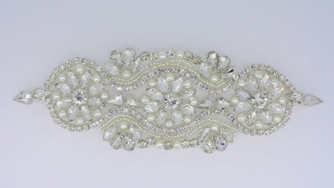 Bridal rhinestones applique silver colour beaded rhinestones motif silver diamante applique Per piece