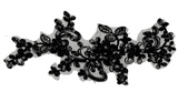 black sequins floral lace applique sew on embroidered tulle lace motif patch for dress sewing