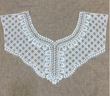 Ivory cotton floral lace collar applique round neckline ivory collar lace motif .  sold by per piece