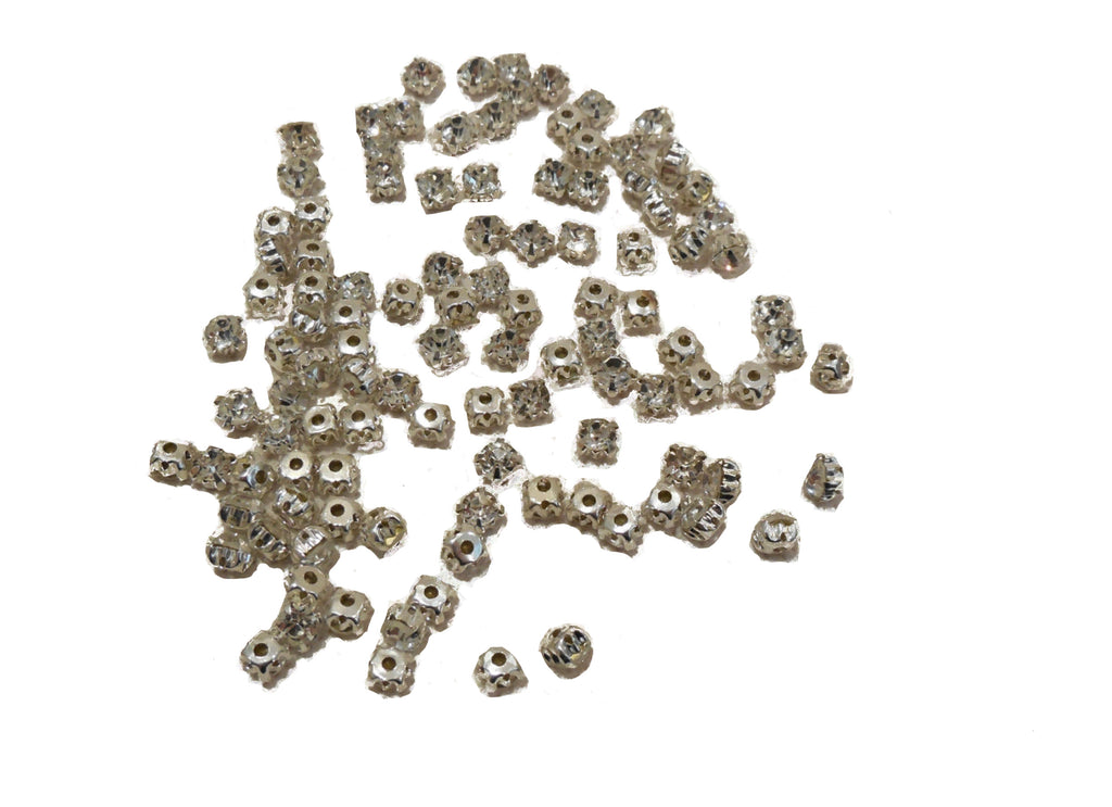 50pcs Silver sew on Rhinestones Bridal Wedding Sewing beads Any purpose diy 5mm