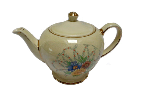 Vintage SADLER England bone china teapot flower pattern with Gold Gilding collectable Classic afternoon teapot