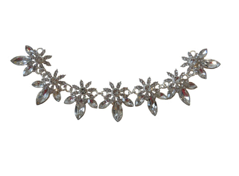 Bridal wedding silver floral rhinestones chain applique craft diamante applique