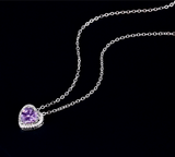 Craftuneed purple zircon heart pendant necklace classic women 925 silver necklace gift