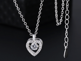 Craftuneed classic heart pendant necklace women stainless steel heart love rhinestones necklace gift